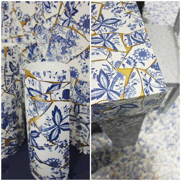 Rasch Tapeten Home Style : Delft Blue Pottery Background