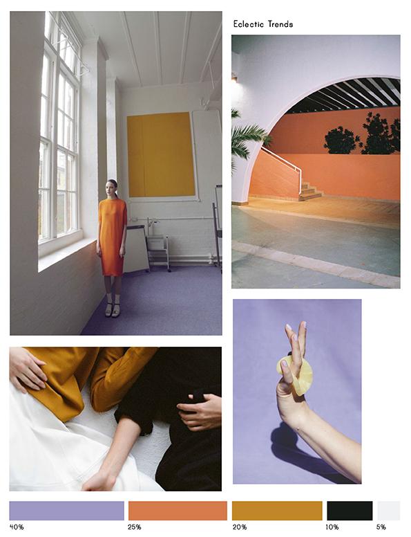 Color Inspiration No.17: Papaya, Lavender, Curcuma, Black & Porcelain via Eclectic Trends