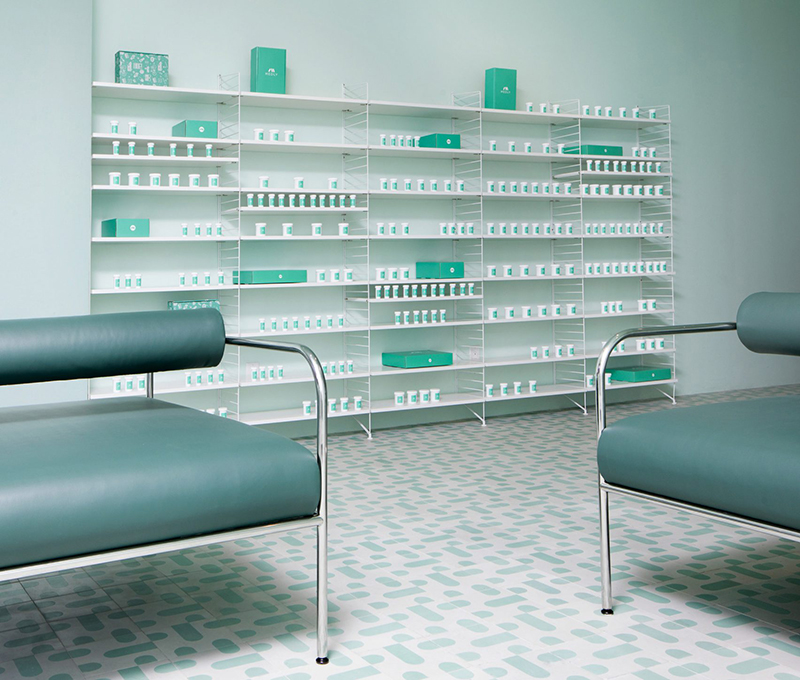 Eclectic Trends | Stylish pharmacy design in Brooklyn in monochromatic greens