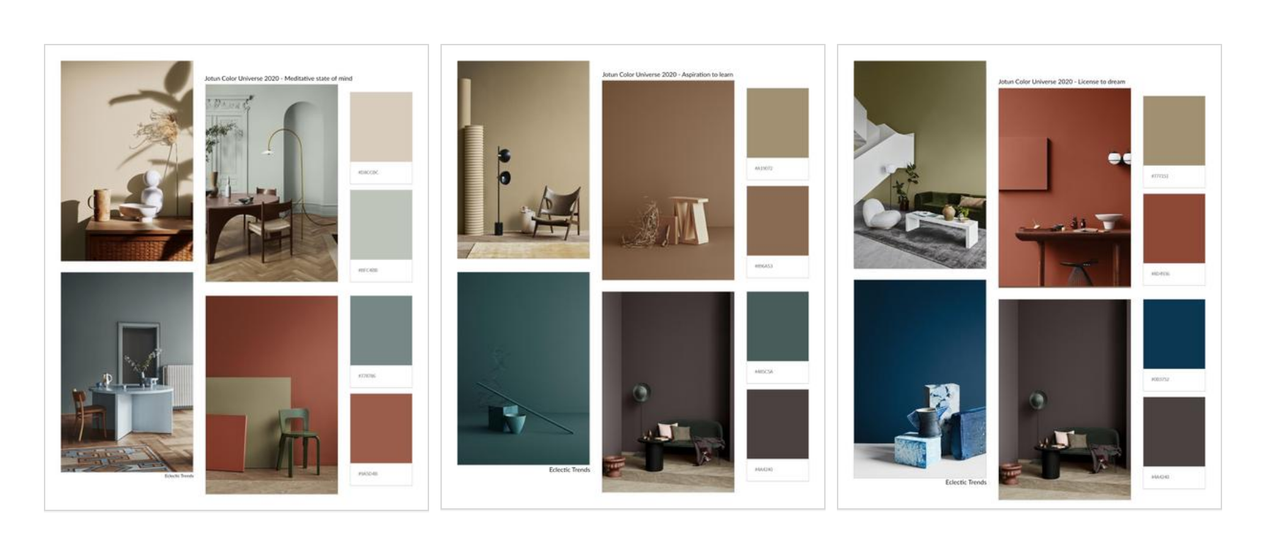 Color Universe 2020 Jotun Moodboards by Eclectic Trends