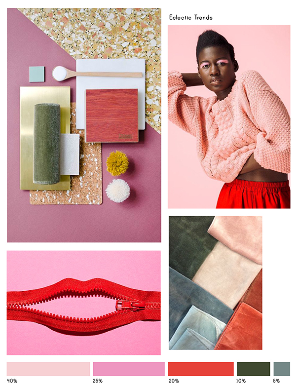 Color Inspiration No.14:Crepe, Rosé, Scarlet, Seaweed and Stone-Eclectic Trends