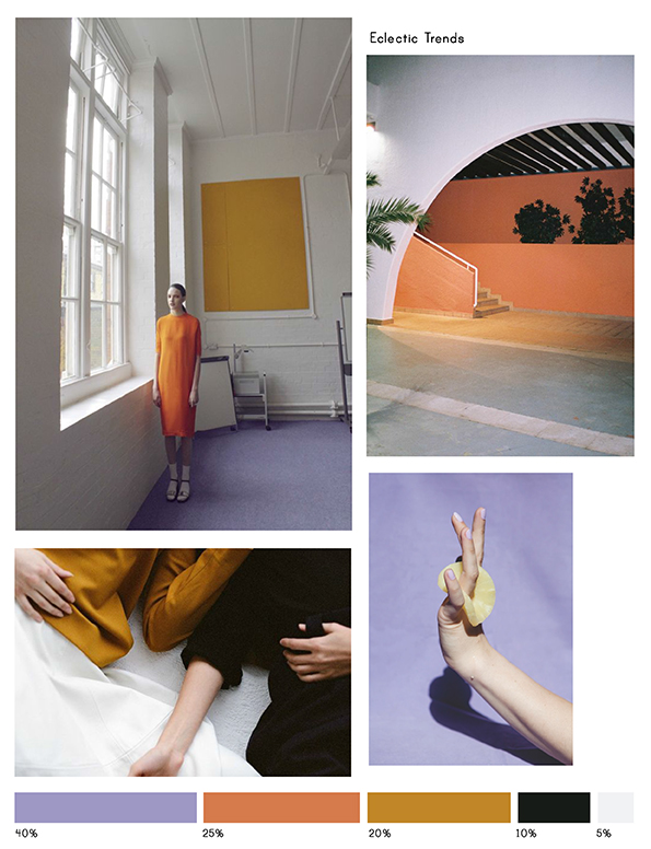 Color Inspiration No.17: Papaya, Lavender, Curcuma, Black & Porcelain via Eclectic Trends