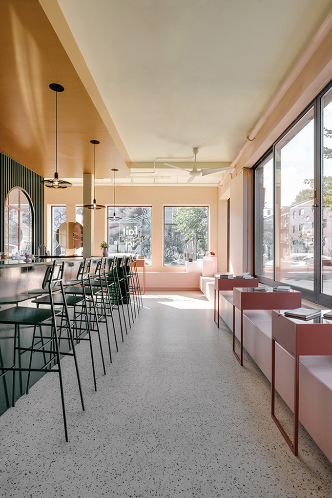 Eclectic Trends   The daring color-blocked interiors of Pastel Rita Café by Appareil Architecture