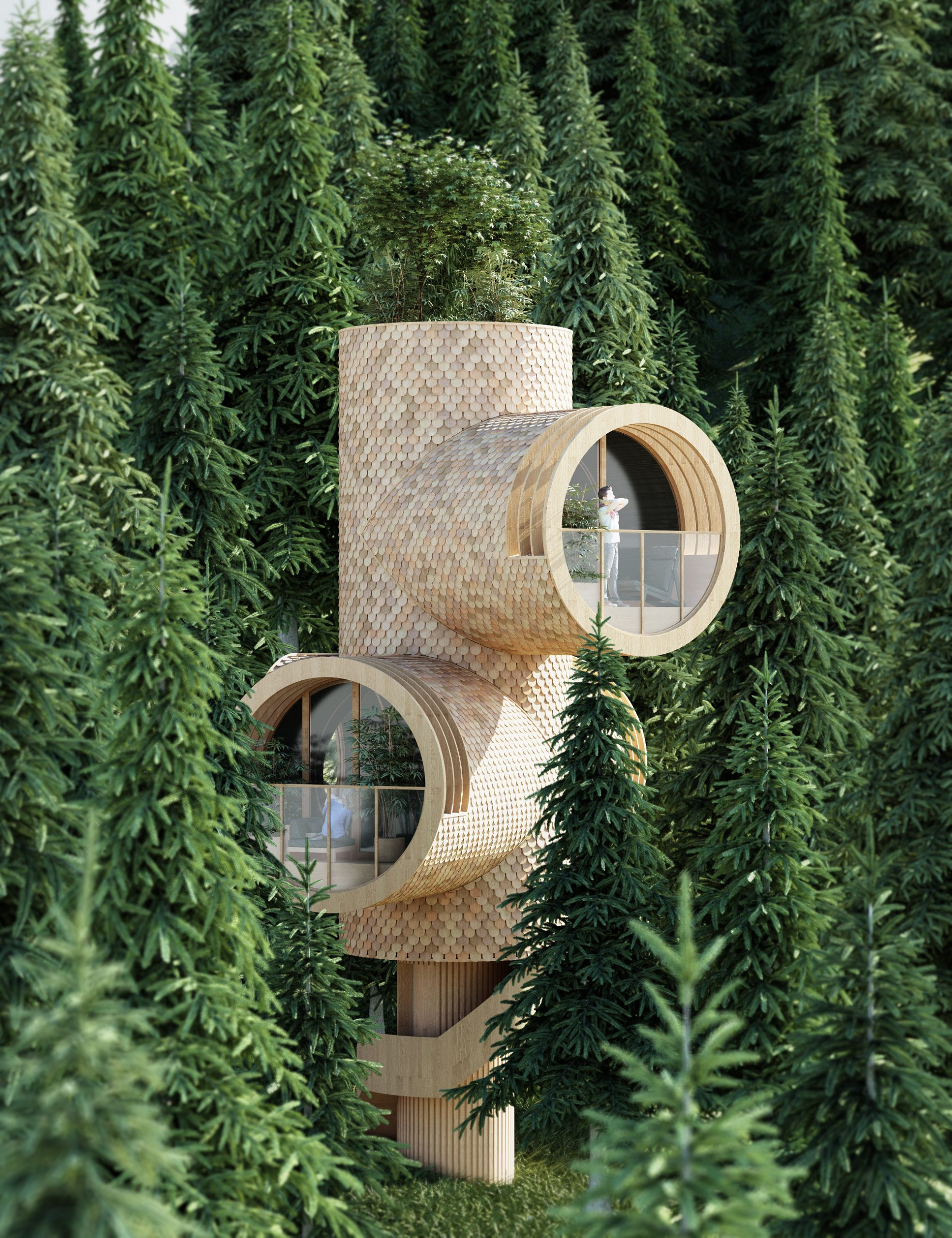 Playful modular homes nestled within nature and inspired by Minions - Eclectic Trends