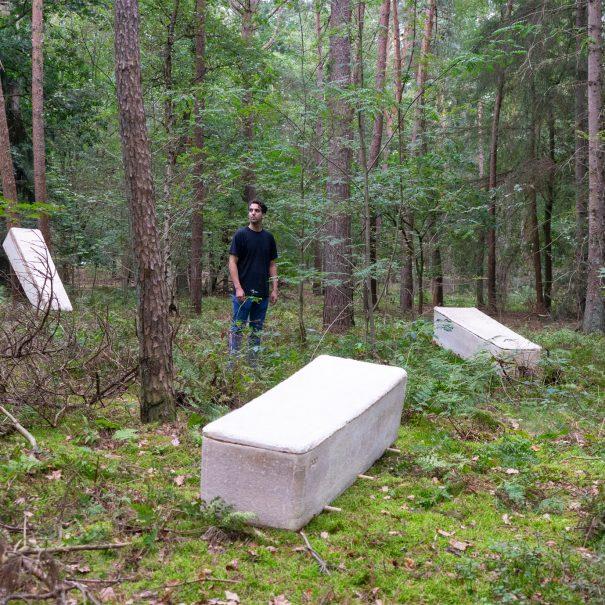 Mycelium mushroom grows into a living coffin