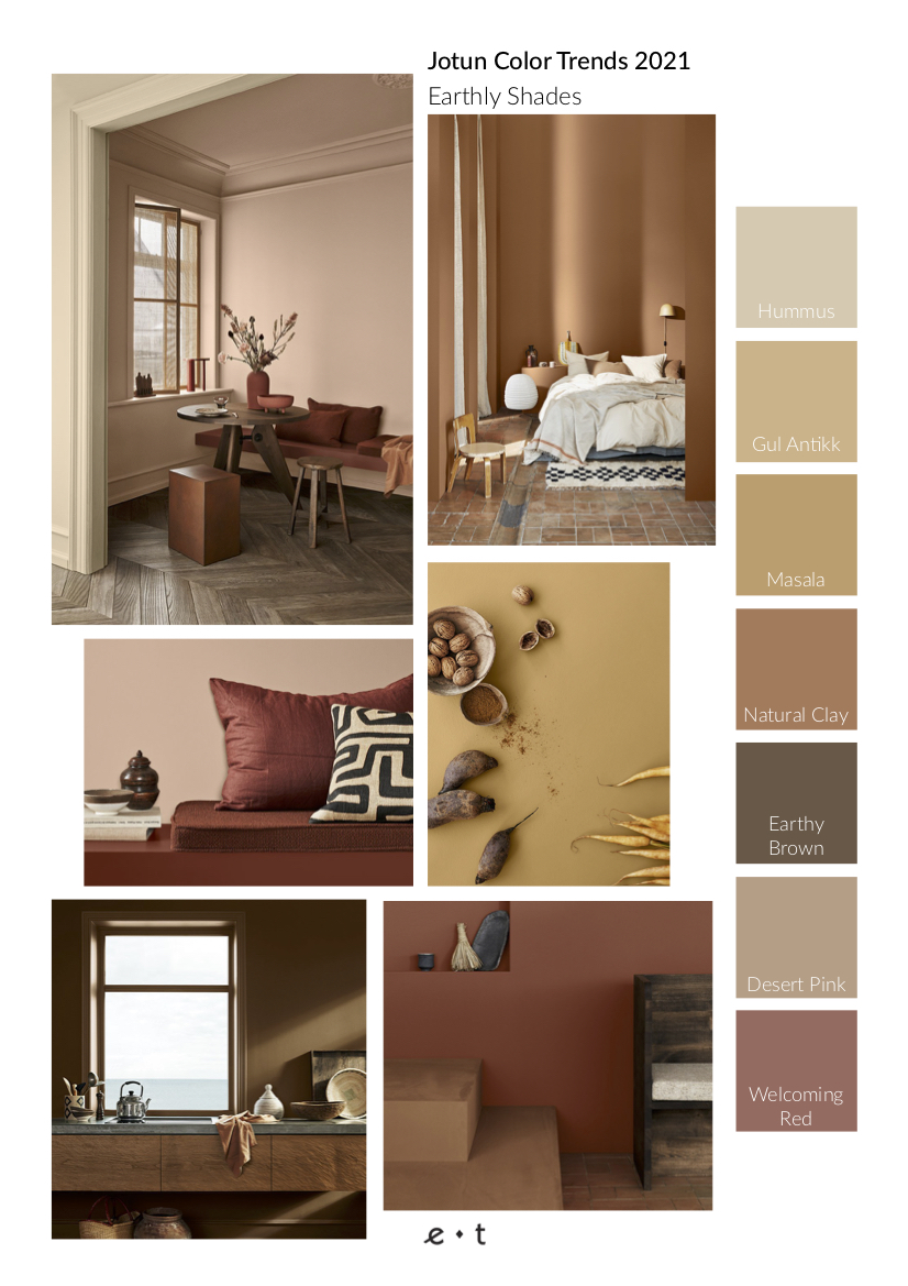 4 Color Trends 2021 By Jotun-Earthly Shades-Mood Board-Eclectic Trends
