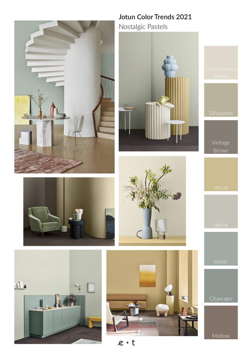 4 Color Trends 2021 By Jotun-Nostalgic Pastels-Mood Board-Eclectic Trends