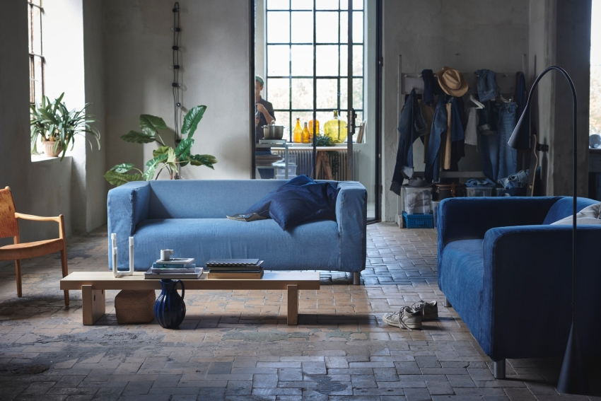 Recycled Denim Cover Give Klippan Sofa New Life