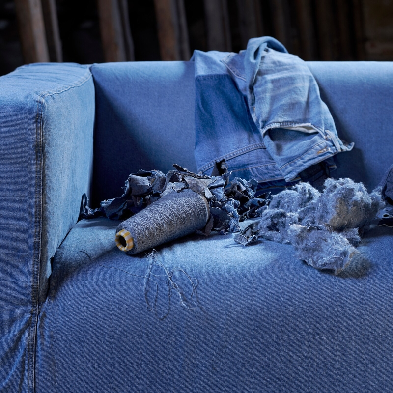 IKEA: Recycled Denim Cover Give Klippan Sofa New Life